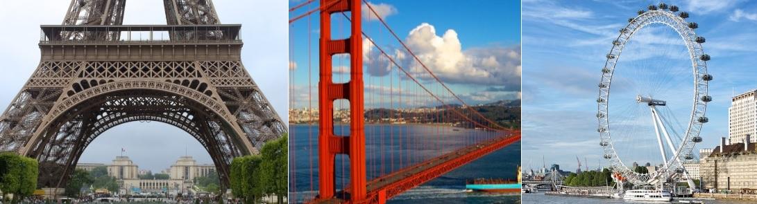 Torre Eiffel (París), Golden Gate (San Francisco) y London Eye (Londres)
